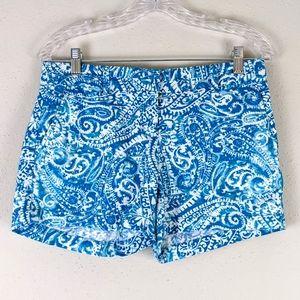 Ann Taylor LOFT Blue Paisley Cotton Shorts 2 NWOT